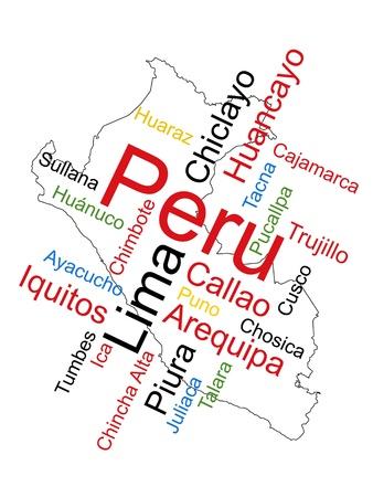 mapas conceptuales: Nube de palabras y mapa de Per� con las ciudades m�s grandes Vectores