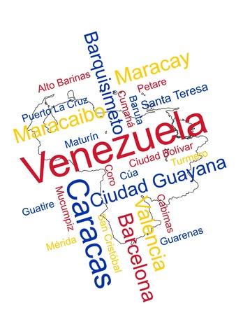 mapa de venezuela: Nube de palabras y mapa de Venezuela con las grandes ciudades Vectores