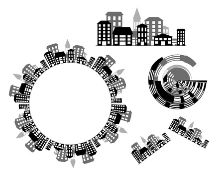 Urban design elements of city vector graphics Vector