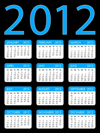 Layout of calendar of year 2012 with blue headers and round corners on the black background Stock Vector - 11451320