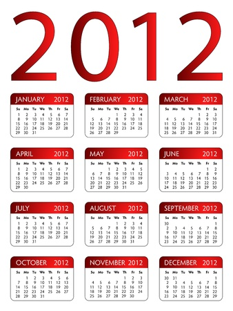 Layout of calendar of year 2012 with red headers and round corners on the white background Stock Vector - 11451321