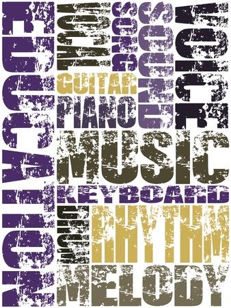 voices: Grunge dise�o con palabras clave de educaci�n musical en el fondo blanco