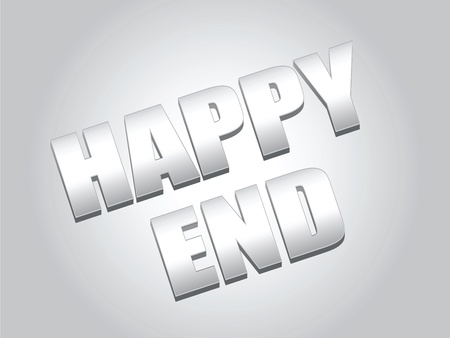 conclude: Text design of words Happy End on the metallic gray background
