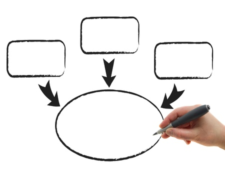 Illustration of the hand drawing graphs on the white paper background illustration