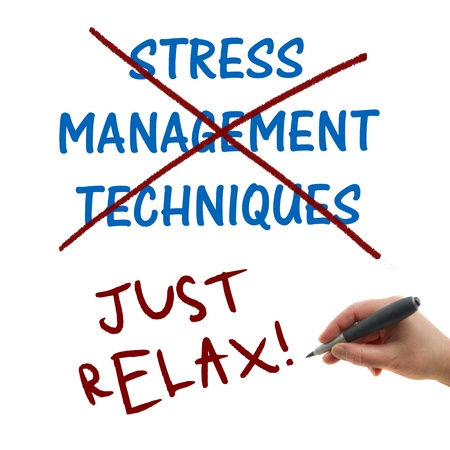 Stress management technique, illustration of the hand writing on the white paper background Just Relax! illustration