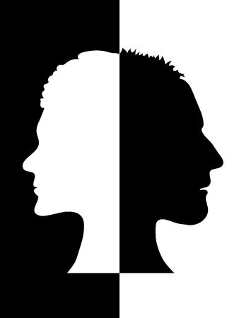 Black and white illustration of the profiles of a man and a woman Vector
