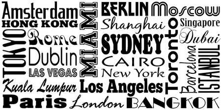 Graphic design of famous cities and travel destinations of the world Vector