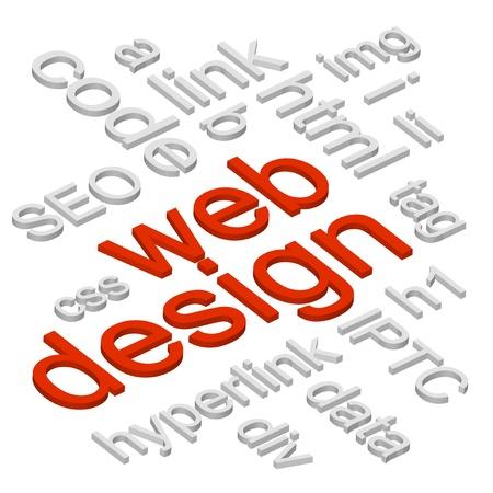 kódování: HTML web design slovo mrak s kódováním realted slova