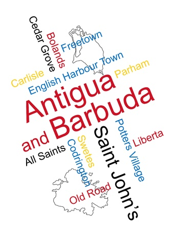 barbuda: Antigua and Barbuda map and words cloud with larger cities