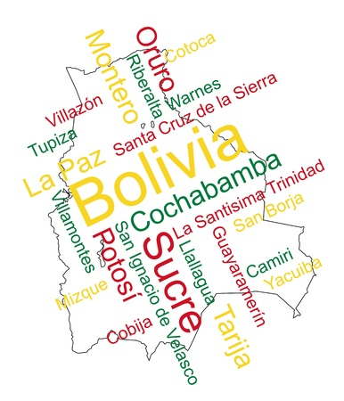 Bolivia map and words cloud with larger cities Stock Vector - 13092310