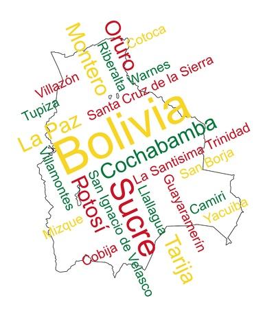 mapa de bolivia: Bolivia mapa y las palabras de nube con las ciudades m�s grandes