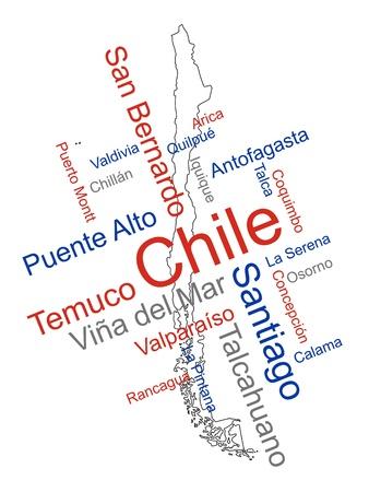 メトロポリス: チリ地図と単語雲の大きい都市と  イラスト・ベクター素材