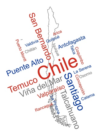 chile: Chile map and words cloud with larger cities Illustration
