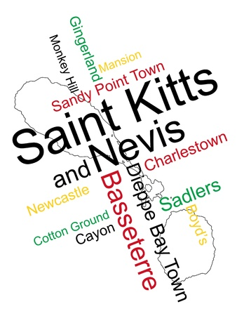 Saint Kitts and Nevis map and words cloud with larger cities Stock Vector - 13092352