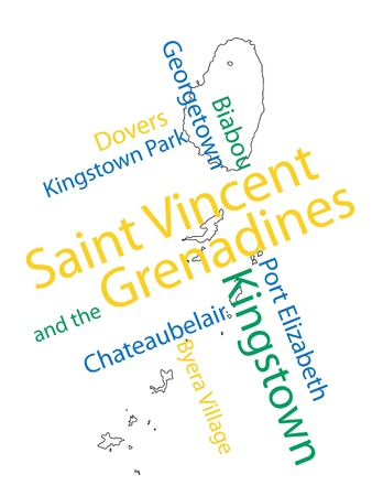 Saint Vincent and the Grenadines map and words cloud with larger cities Stock Vector - 13092332