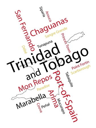 port of spain: Trinidad and Tobago map and words cloud with larger cities Illustration