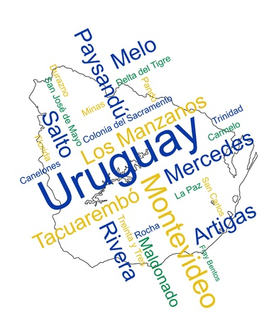 Uruguay map and words cloud with larger cities Stock Vector - 13092338