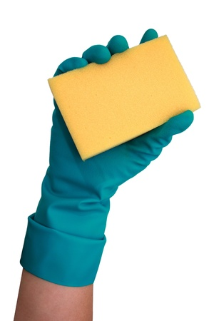 Hand holding yellow cleaning sponge  isolated on white photo