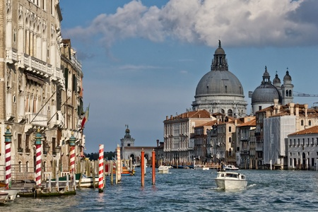 Venice Grand canal, the Basilica of St Mary of Health or Basilica di Santa Maria della Salute on the background photo