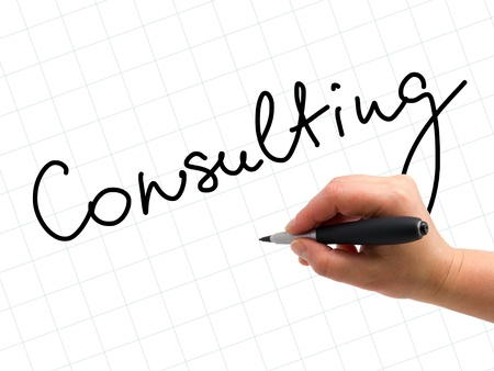 Illustration of the hand with a pen writing CONSULTING on the white paper background illustration