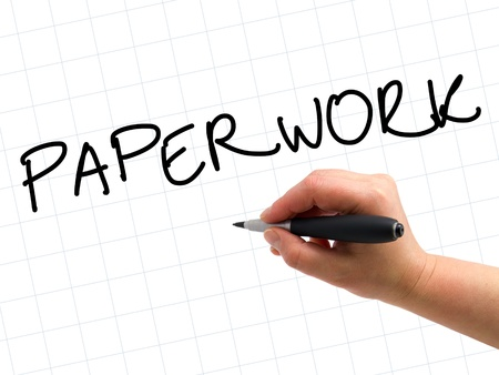 Illustration of the hand with a pen writing PAPERWORK on the white paper background Stock Illustration - 13763075