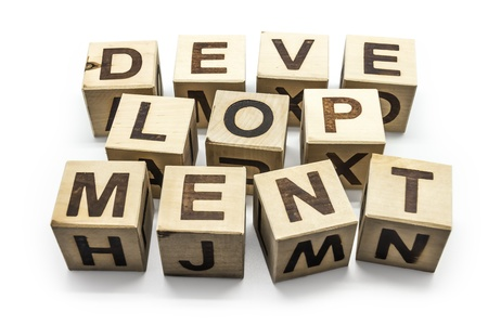 Photo of wooden letter blocks forming the word Development on the white background photo