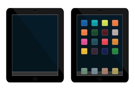 Vector illustrations of tablets, one clean, another with icons Stock Vector - 16049354