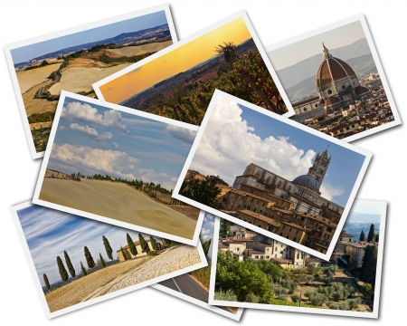 Collage of photos of Tuscany Italy on the white background photo