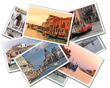 Collage of photos of Venice Italy isolated on the white background photo