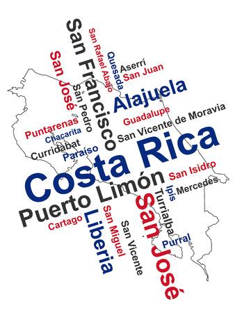 rican: Costa Rica mapa y las palabras nube con las ciudades m�s grandes