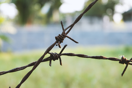 invade: Rusty barbed wire Stock Photo