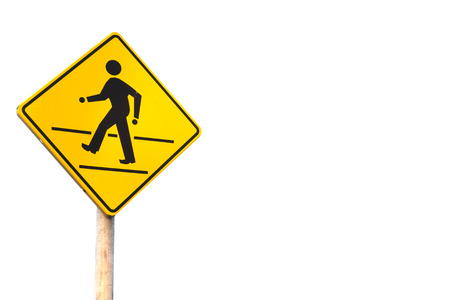 walking sign in the yellow background on white background