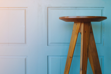 contemporary living room: Empty wooden chair on vintage blue wood background Stock Photo