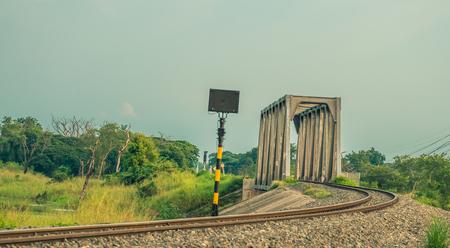 Train railway bridge cross the lake
