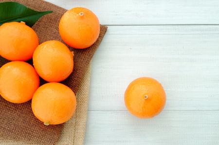 Oranges on white vintage wood Stock Photo