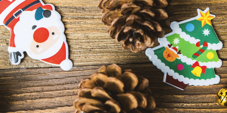 Brown pine cone ,Santa clause,  and Christmas tree prepare for Christmas