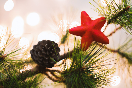 Red Christmas star on a pine tree for celebration