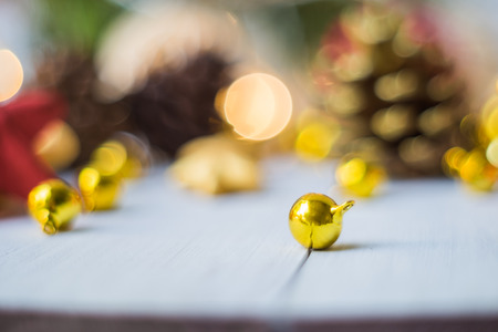 Christmas bell placed on wooden floor ,prepare for Christmas party Stock Photo