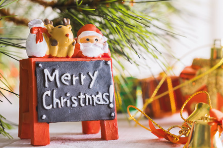 Christmas and happy new year decoration on wooden background,celebration theme happiness party