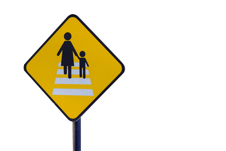 Caution people crossing traffic sign isolated on white background