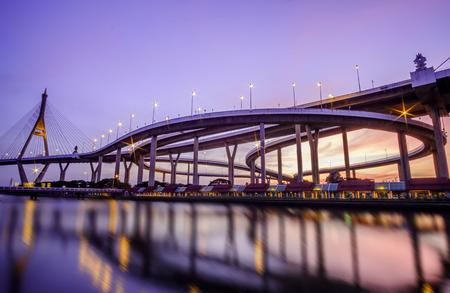 sunset at Bhumiphol Bridge cross Chao Phraya river,Bangkok Thailand
