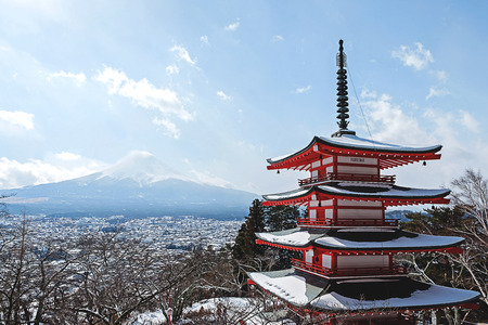 Fuji san and Chureito tepmle landmark of Japan, Yamanashi Japan
