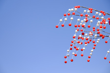 White and red ball tree at Asakusa shinto shrine,It is the celebration symbol of Japanese culture.
