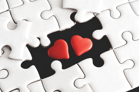Little two heart appear on blank space of jigsaw puzzle,two heart ,soul mate born to living together