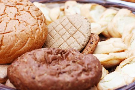 Various kinds of fresh tasty bread photo