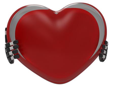 3 d: 3 d heart in hands,render