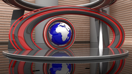 3 d: 3 d virtual news studio Stock Photo