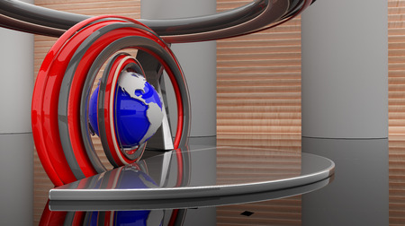 news room: 3d virtual studio RAW render Stock Photo