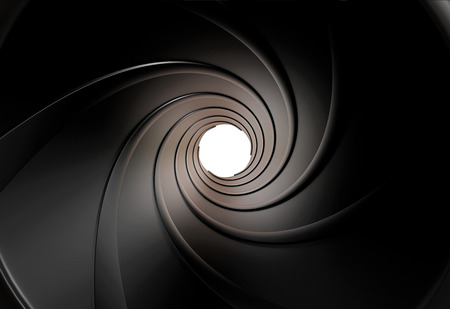 metal background: Spiraled interior of a gun barrel rendered in 3D Stock Photo