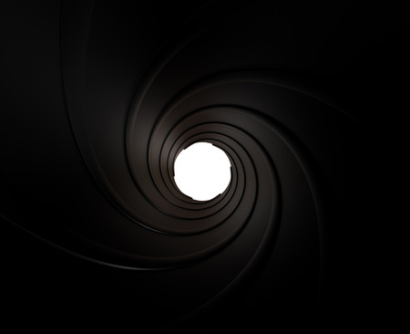 with holes: Spiraled interior of a gun barrel rendered in 3D Stock Photo